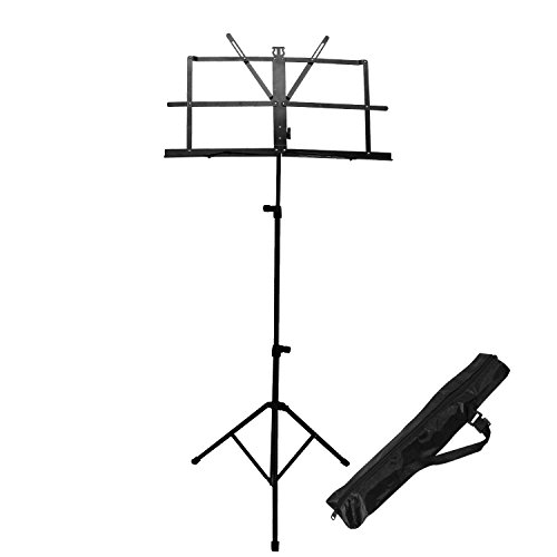 With Carrying Bag 55 Inchs High Record Stand Folding Travel Metal Music Stand White Flanger Sheet Music Stand