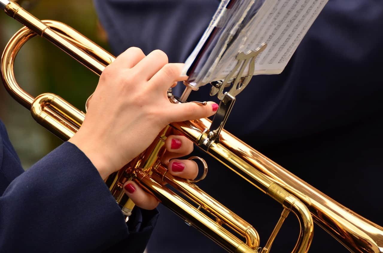 Someone holding a trumpet