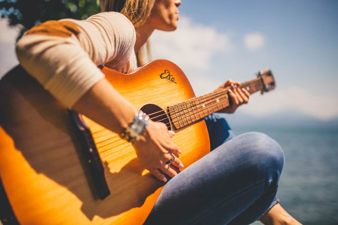 Budget acoustic electric guitar
