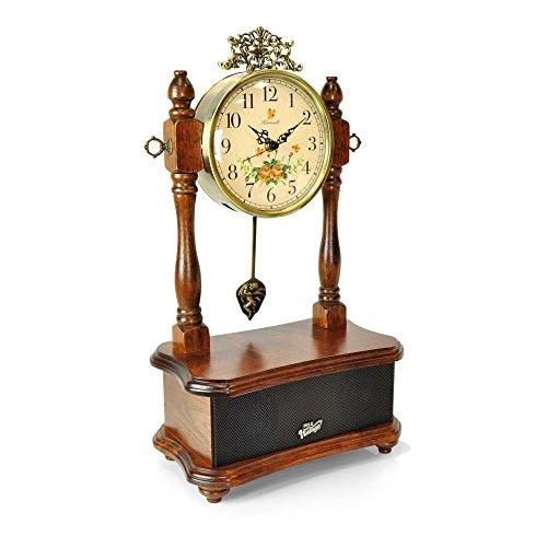 Pyle 2-in-1 Vintage Style Clock, Retro Bluetooth Speaker