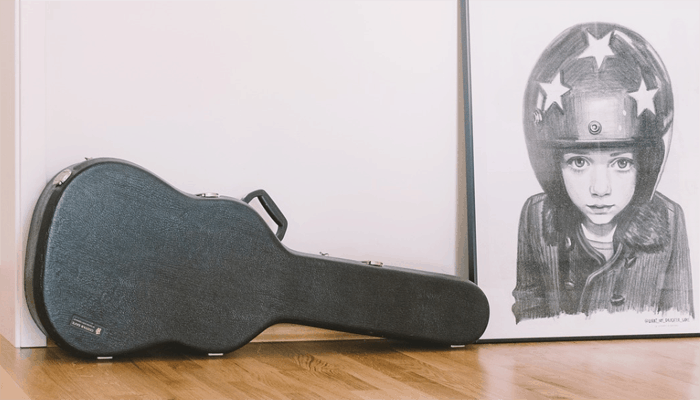Hard Guitar Case on the wall
