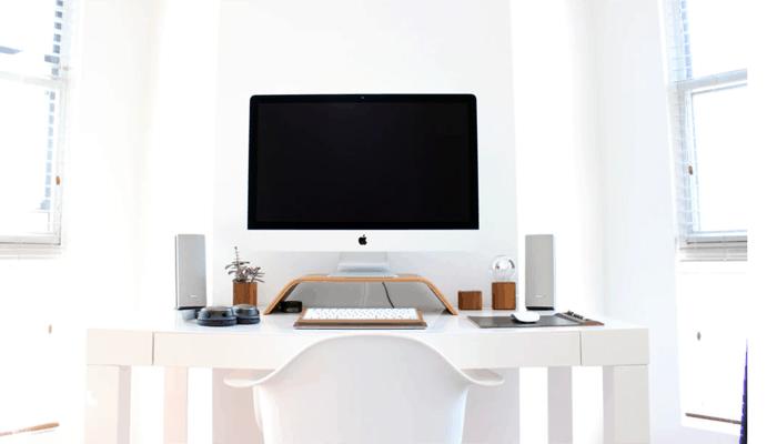 Desktop computer with two speakers