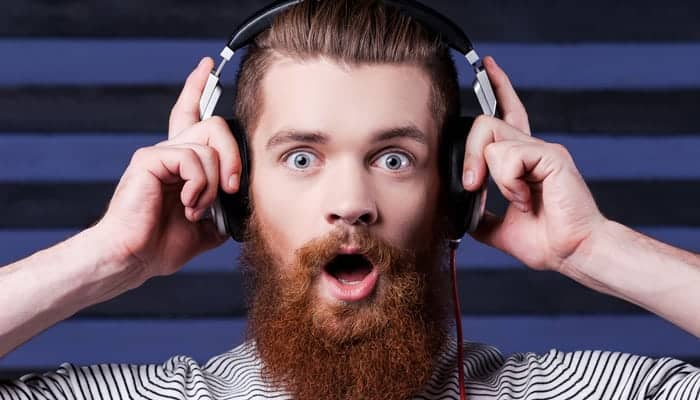 Bearded man with headphone