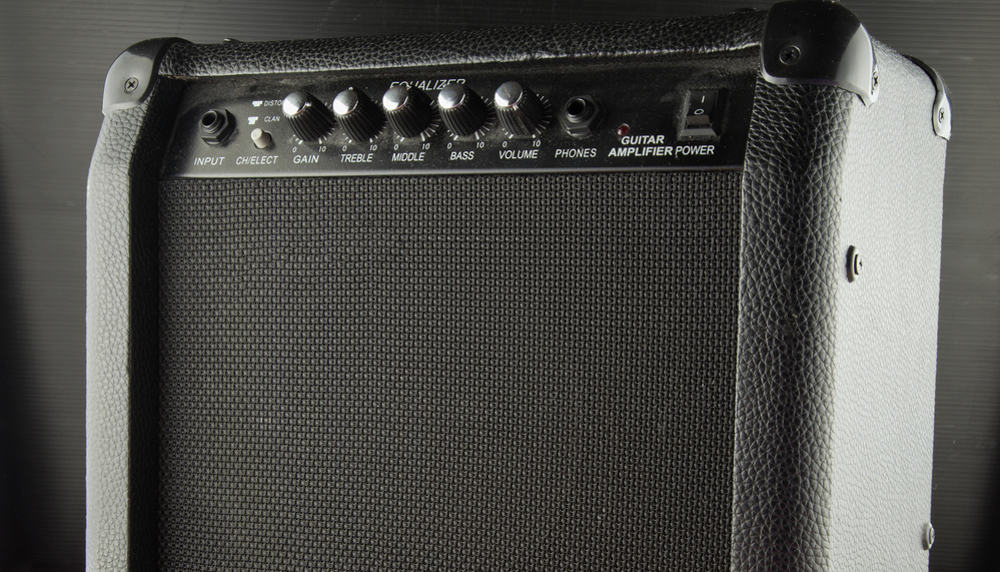 Close up of black amp for guitar