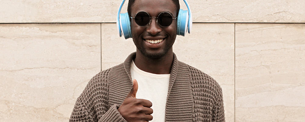 African man thumbs up