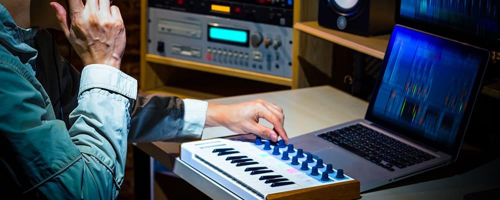 Man producing a song