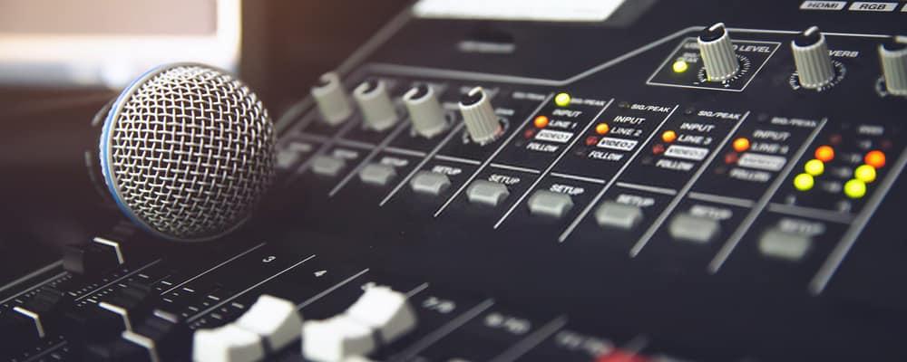Microphone on audio mixer