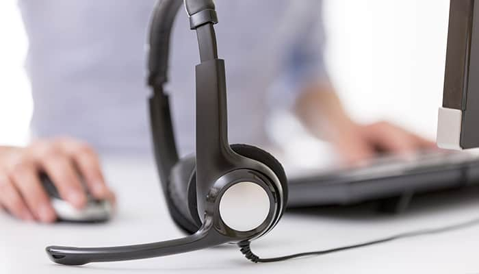 Headset on computer desk