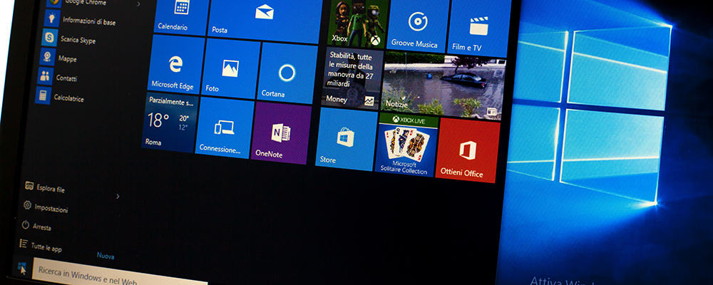 Microsoft Windows 10 on a laptop