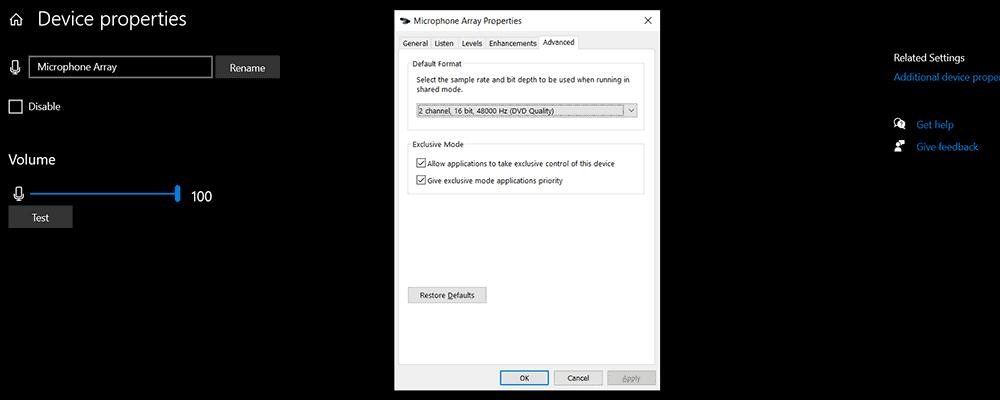 Windows exclusive mode