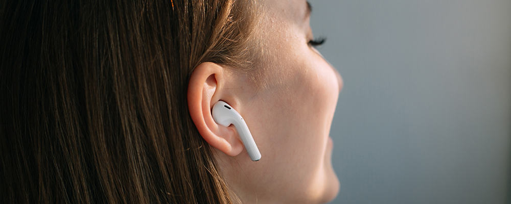 Woman with airpods