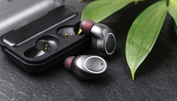 Wireless earphones close up
