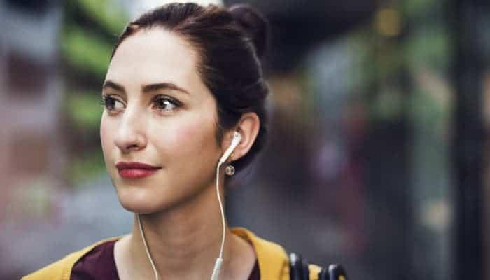 Woman with earphone