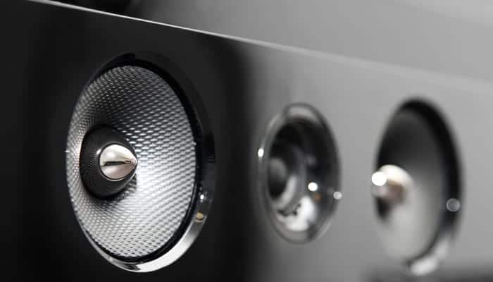 Closeup of soundbar speaker