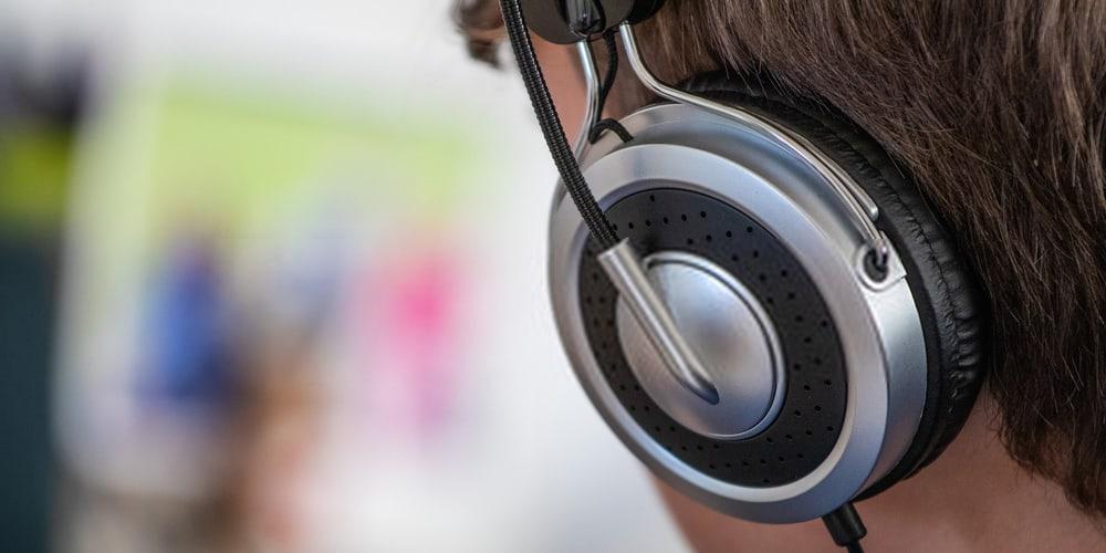 Boy with headphone closeup