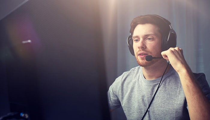 Man with gaming headset